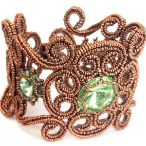 Beatrice Cuff is a beaded bracelet, incorporating bezelled Swarovski crystals, Miyuki beads and beautiful Czech Charlotte seed beads.